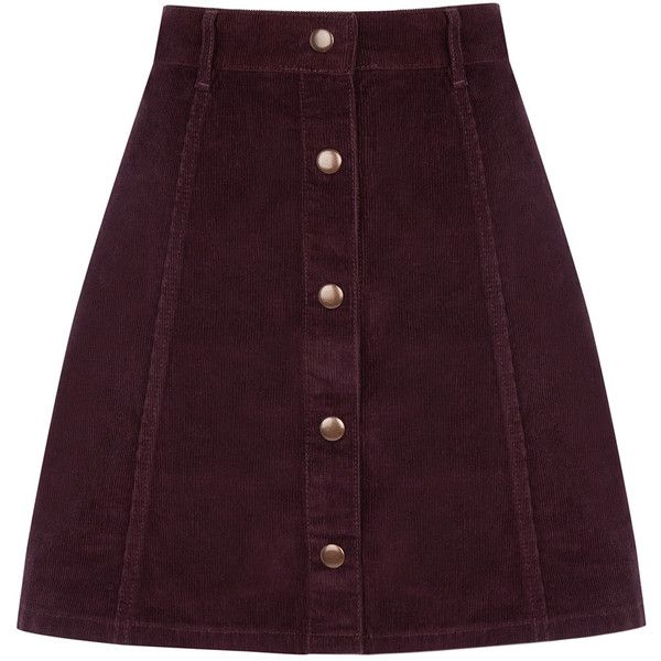 OASIS Cord Button Mini Skirt found on Polyvore featuring skirts, mini skirts, bottoms, red, button skirt, purple skirt, panel skirt, a line skirt and short mini skirts