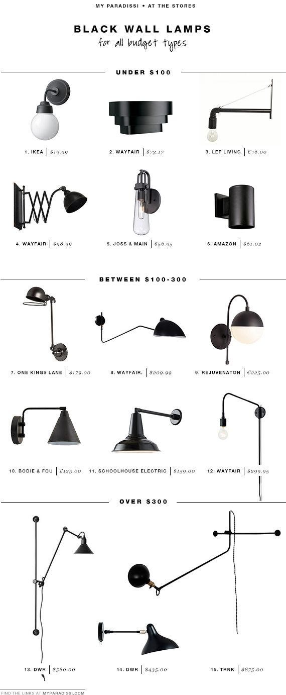 15 favorite black wall light fixtures for all budget types | My Paradissi                                                                                                                                                                                 More