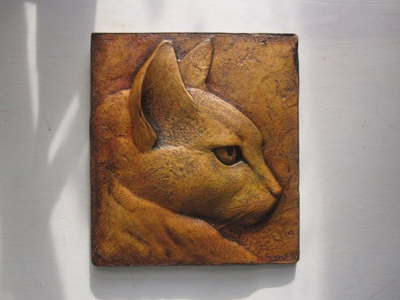 Cat sculptured ceramic tile by SculptureGeek on Etsy - An Art Nouveau style portrait of my late and beloved cat, Rufus.