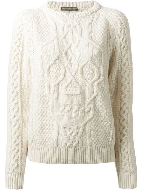 Shop Alexander McQueen skull cable knit sweater in O' from the world's best independent boutiques at farfetch.com. Over 1000 designers from 60 boutiques in one website.