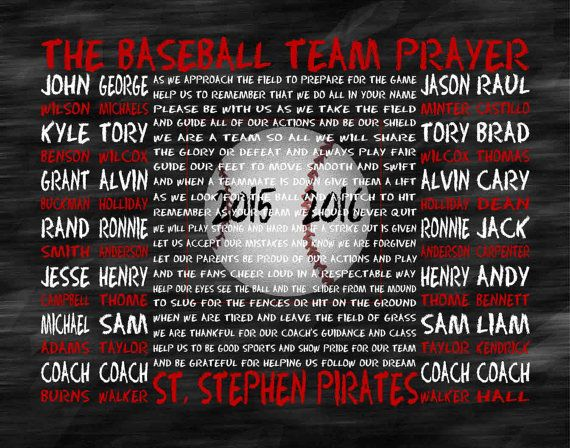 The Baseball Team Prayer personalized Baseball by JoFloDesigns33