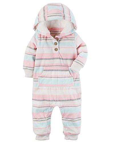 0a6f2dc5c Carter s Baby Girls Fleece Hooded Romper Jumpsuit