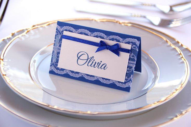 Wedding Place Cards, Wedding Placement Cards, Lace Place Cards, Romantic Escort Cards, Lace and Bow Name Cards, Blue Wedding by PioroWedding on Etsy