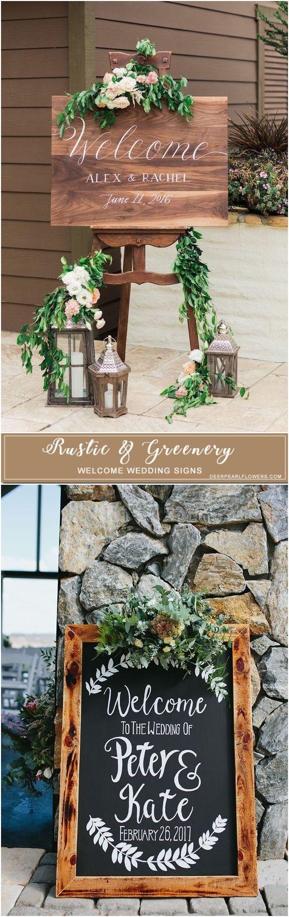 Rustic wooden welcome wedding signs #rustic #wedding #weddingsign #green #greenwedding #weddingdecor http://www.deerpearlflowers.com/rustic-greenery-welcome-wedding-signs/