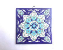 Mediterranean Tile, Trivet Ceramic Tile, hand made ceramic, Ceramic Tile, Ceramic Wall Hanging, Bohemic Tile, Blue Ceramic Tile, Greek Tile