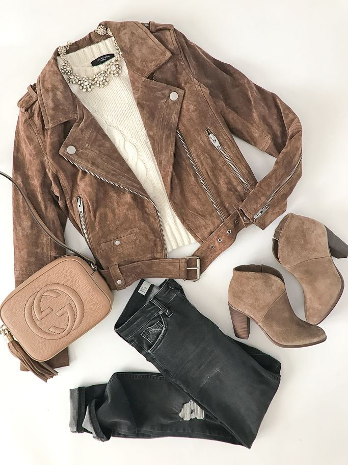 BlankNYC MORNING SUEDE MOTO JACKET, Gucci soho disco leather bag, Topshop Jamie Shredded High Rise Skinny Jeans, Vince Camuto Franell western booties