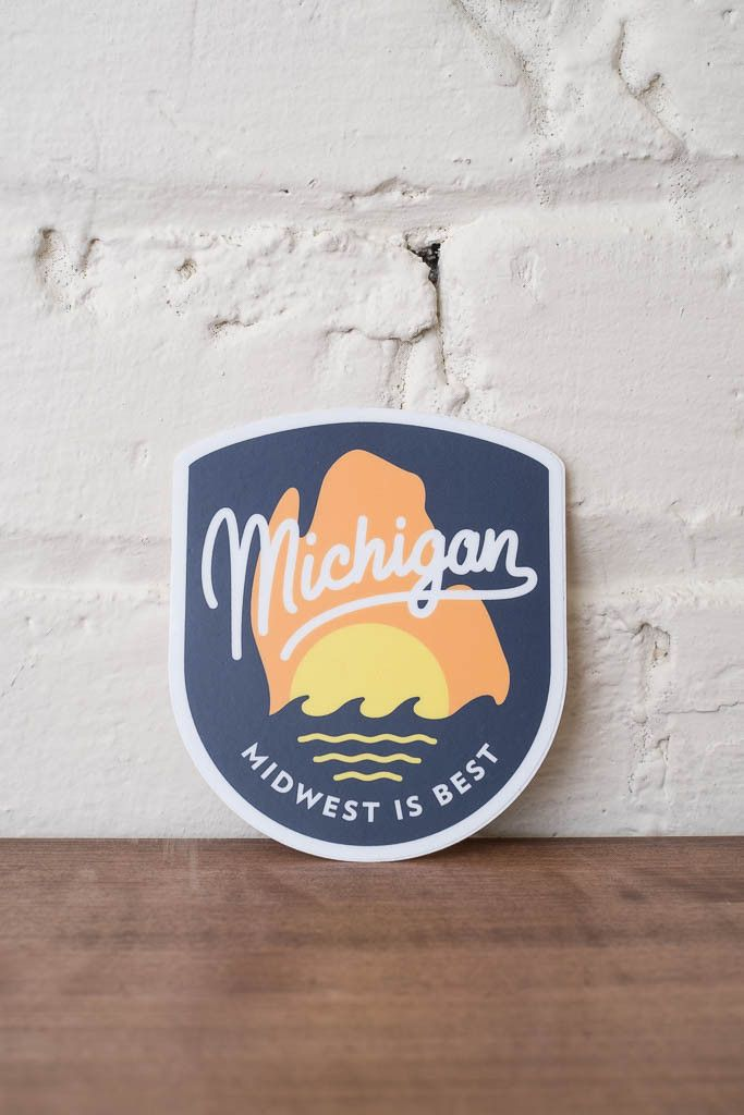 A die cut midwest is best full color print vinyl sticker that features the mitten state