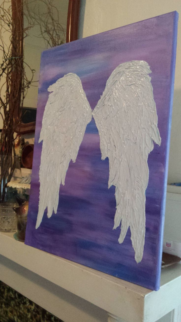 Hand painted angel wing canvas,angel wing original painting, textured feathers angel wings painting by 800ChestnutStreet on Etsy