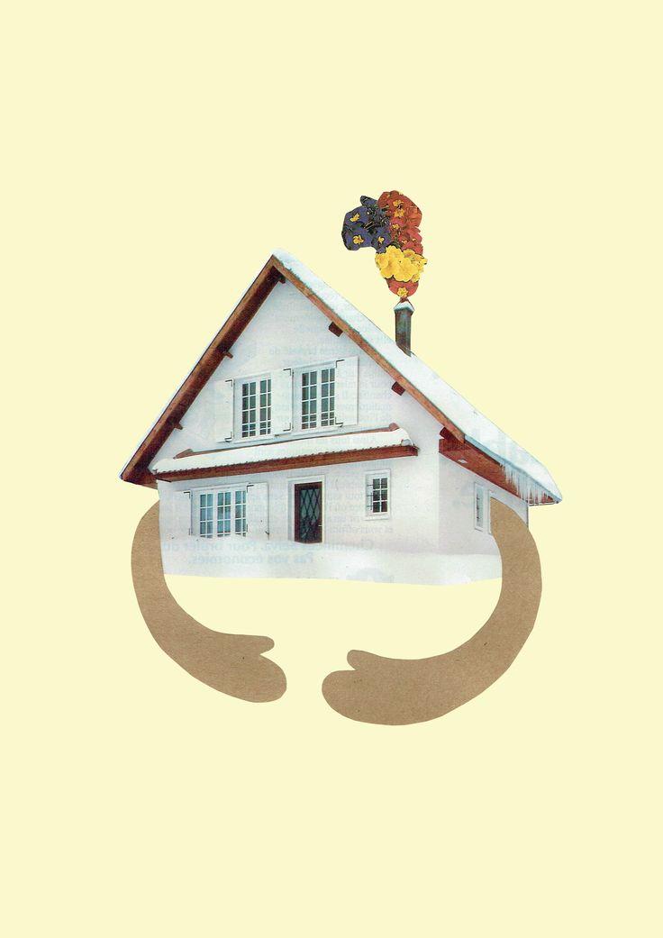 """Collage """"Hello spring"""" by Tijeras y Poemas (Ana Lorente). #collage #tijerasypoemas #refugees #home"""