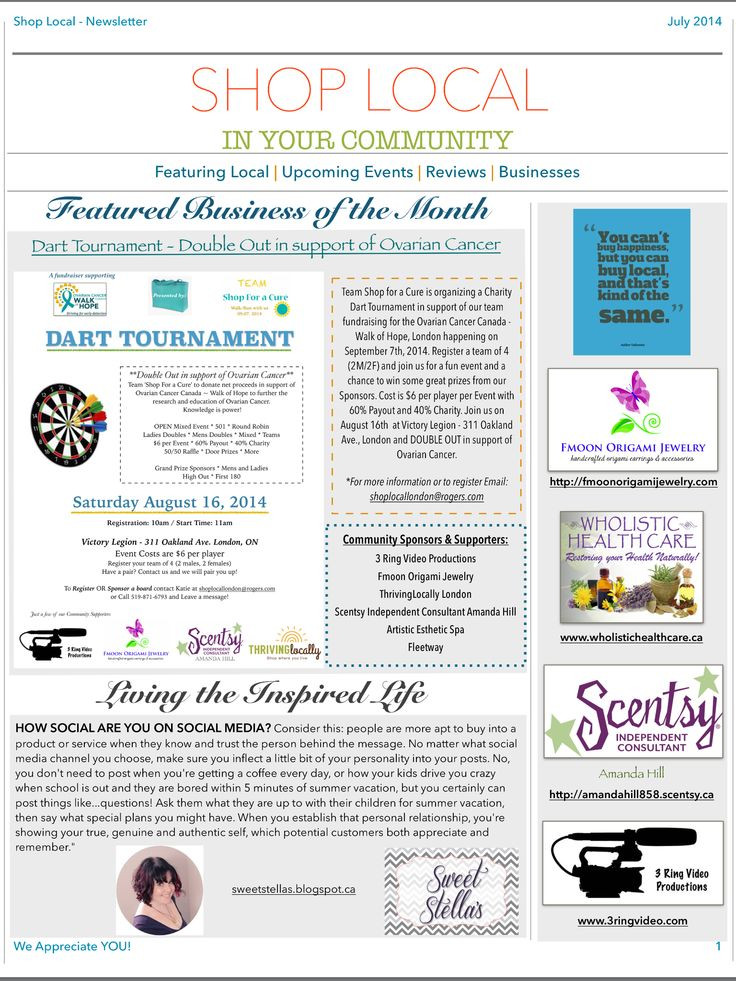 Shop Local's July Newsletter Pg.1 Featuring: Dart Tournament - Double Out in support of Ovarian Cancer. Sweet Stellas: How Social are you on social media? http://eepurl.com/YBDdn #LdnOnt #supportsmallbiz #buylocal #LdnEvents