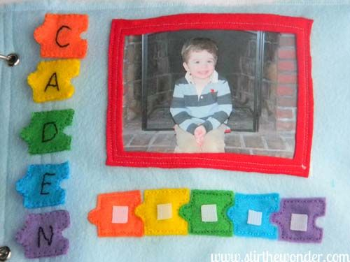 My name quiet book page. Child moves the puzzle pieces on left, matching colors, to create his/her name. So simple! Love the photo idea too