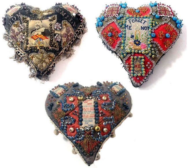 WW1 Sweetheart pin cushions - made by soldiers in World War One. Find out more about them at Lily in the Labyrinth #wartime #history #crafts