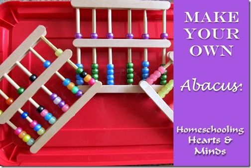 Make your own abacus with flat lolly sticks, round lolly sticks and pony beads