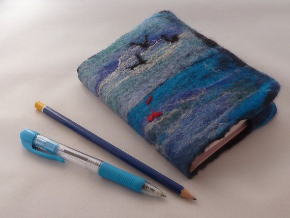 Hand felted A6 Removeable Journal Notebook Cover by Deborah Iden of LittleDebFelts.  See more photos of how this item was made at:  www.facebook.com/LittleDebFelts