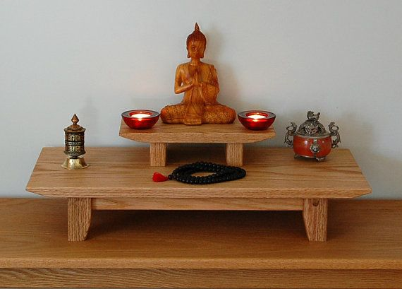 Solid oak table top meditation shrine with a by theyankeewoodsmith