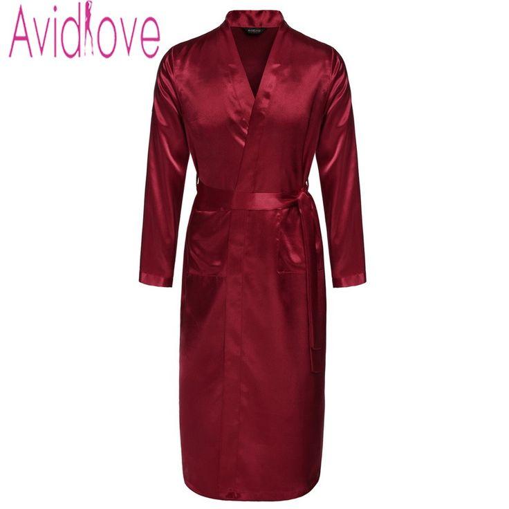 Avidlove Men's Long Robe Mens Silk Satin Bathrobe Pajamas Sleepwear Robes Nightgown Loungewear Big and Tall S-XXL 4 Colors U2