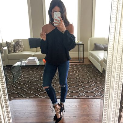 Great outfit for going out to dinner or to happy hour with friends.  chic black cold shoulder top + skinny jeans + lace up pointed heels  http://liketk.it/2pDni @liketoknow.it #liketkit