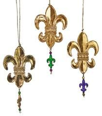 "Katherine's Collection 2018 Mardi Gras Collection Twenty-Four Assort 6"" Stamped Metal Fleur De Lis Ornaments Free Ship"