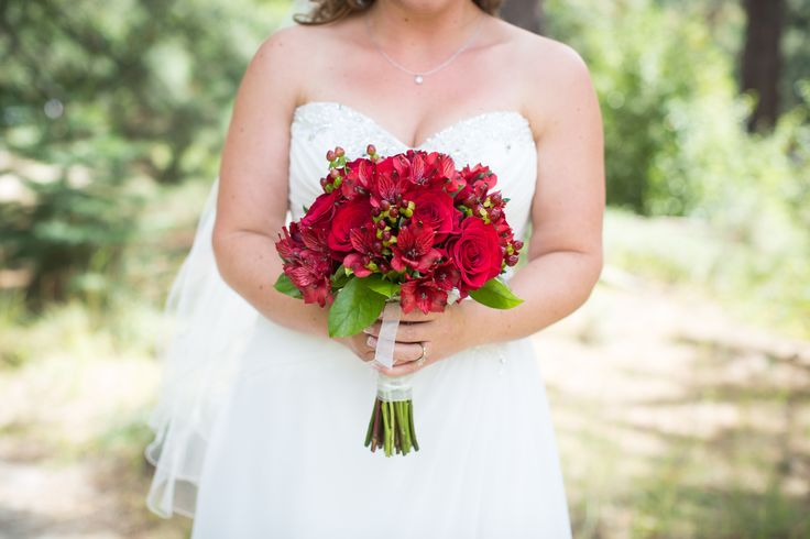 Red Rose and Alstroemeria Bridal Bouquet