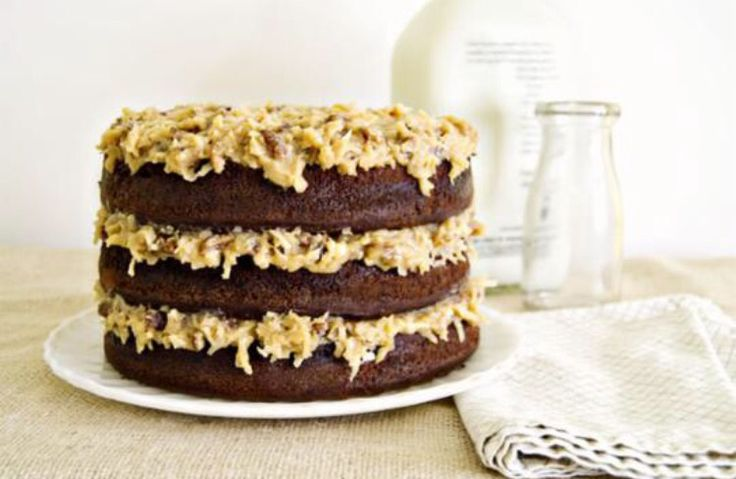 German chocolate naked cake with coconut pecan frosting