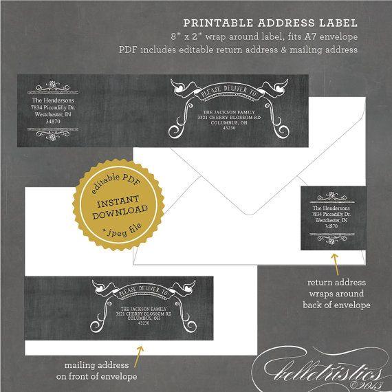 INSTANT DOWNLOAD Printable Chalkboard Address Label, Editable Address Label Template