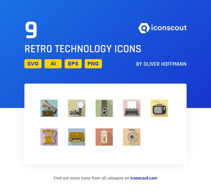 Retro Technology  Icon Pack – 9 Flat Icons