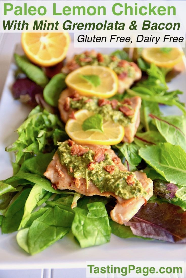 Give your chicken a flavor boost with this paleo lemon chicken with mint gremolata and bacon. It's fancy enough for a ho…
