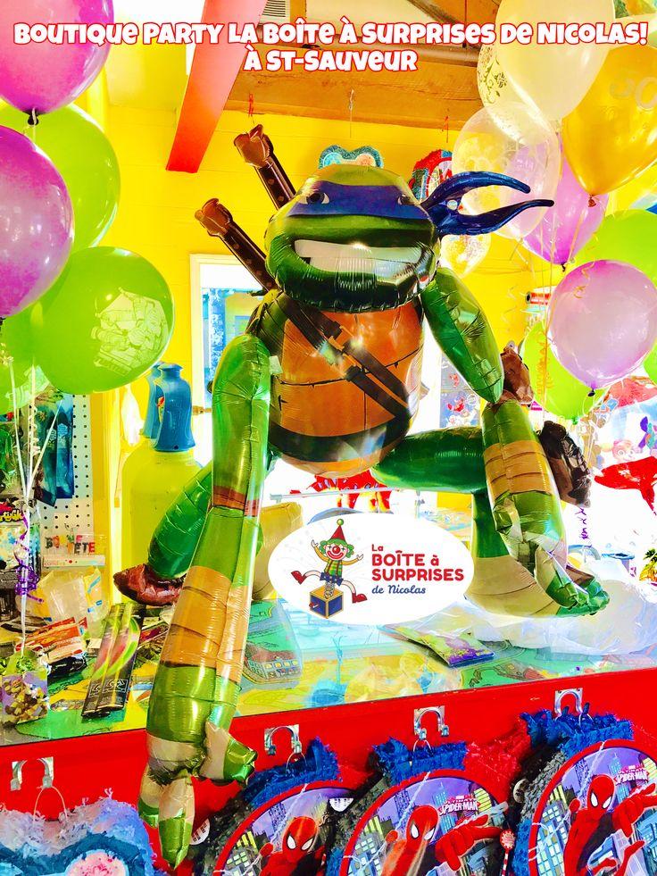 Ballons hélium Ninja turtles jumbo À St-Sauveur , boutique La Boîte à Surprises de Nicolas, www.laboiteasurprises.ca