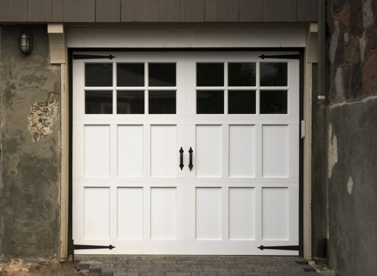 Fabulous S With Classic White Wooden Garage Door With Black Glass Design Ideas