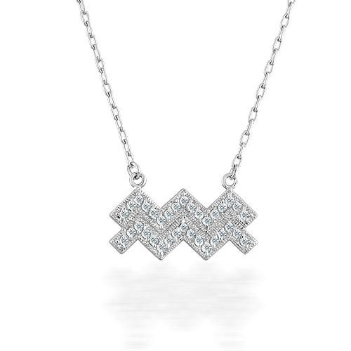 Aquarius Zodiac Sign Sterling Silver Diamond CZ Pendant Necklace