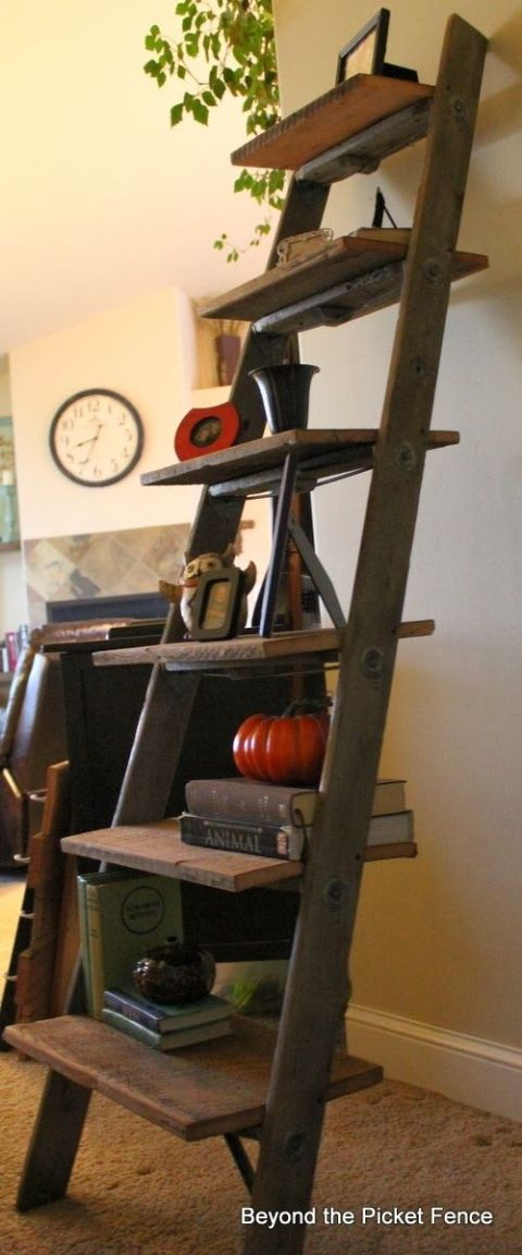Ladder book shelf, by Beyond the Picket Fence, featured on Funky Junk Interiors
