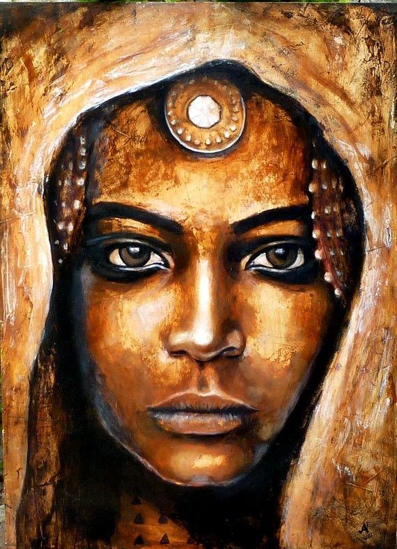 """""""Akasha"""" portrait réalisé à la peinture acrylique"""