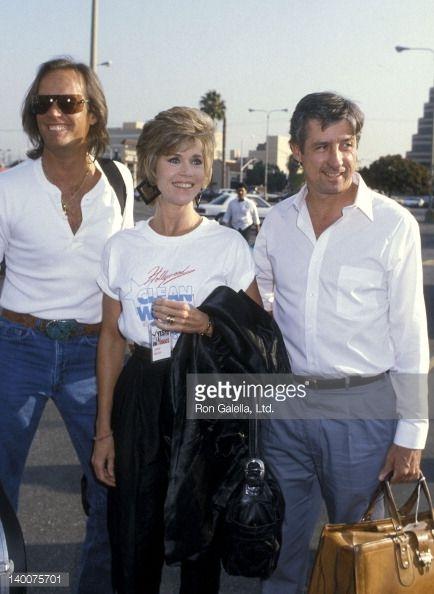 Actor Peter Fonda actress Jane Fonda and political activist Tom Hayden ...