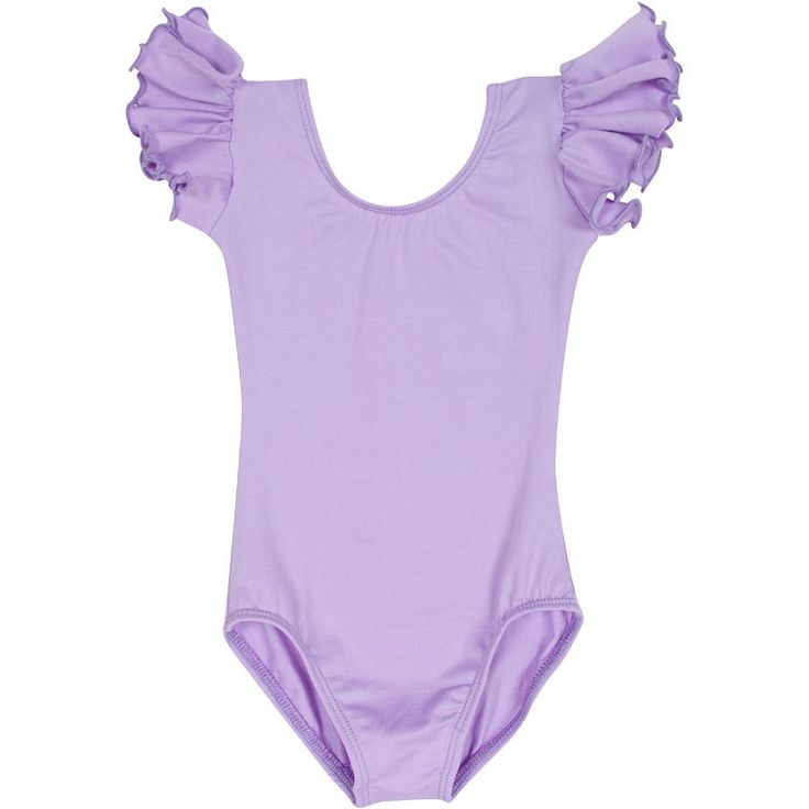 LILAC PURPLE Leotard w/ Flutter Ruffle Sleeve for Toddler and Girls – The Leotard Boutique