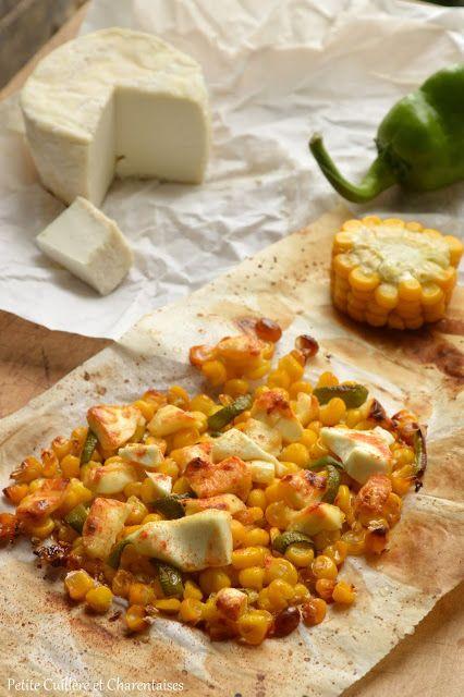 Petite Cuillère et Charentaises: Maïs rôti au chèvre, poivron et sauce piquante