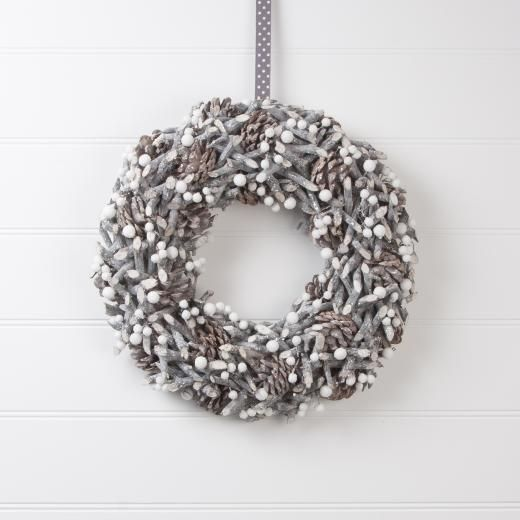 Gisela Graham Contemporary Frosted Twig, Cone & Berry Wreath - £20.00 - A great range of Wreaths, Garlands & Signs gifts and homewares from The Contemporary Home Online Shop