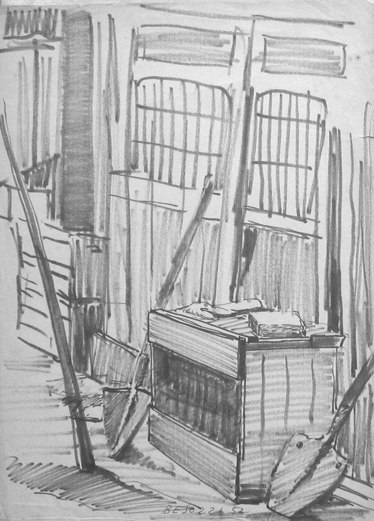 E. Besozzi pitt. 1957 Interno di cortile pennarello su carta cm. 32,5x26 arc. 1181