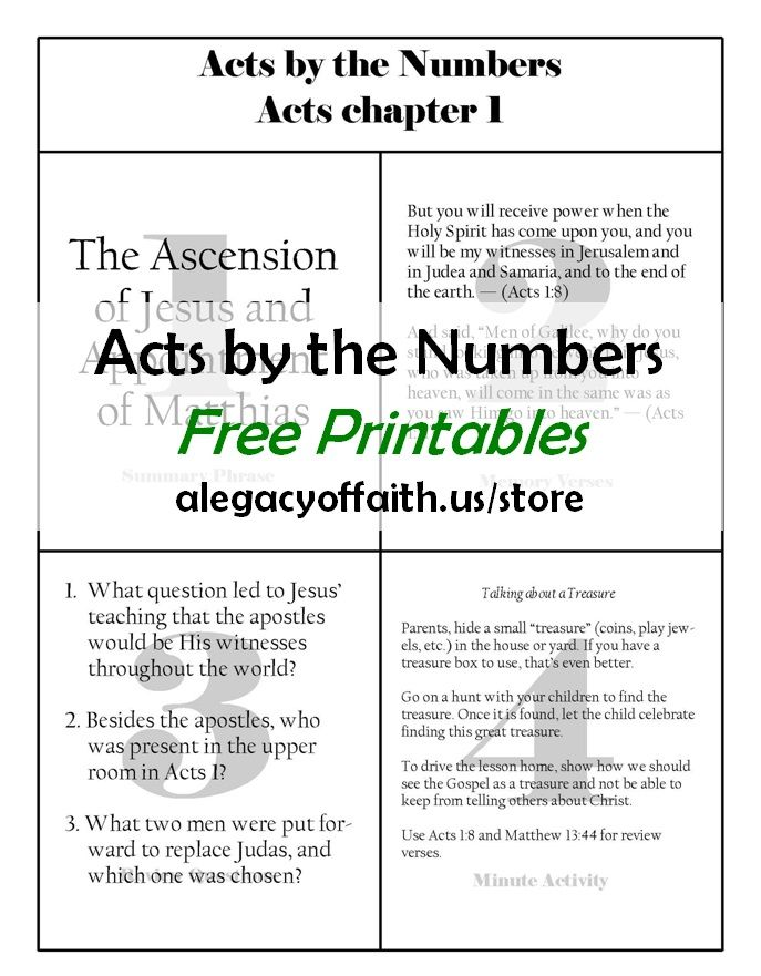 """Want a way to teach your children the book of Acts? Our """"Acts by the Numbers"""" free printables may just be what you are looking for. For each of the 28 chapters of Acts, you will find a sheet with: One short summary, Two memory verses, Three review questions, and a Four-minute activity. - See more at: http://www.faughnfamily.com/acts-numbers-complete/#sthash.zQPSmLXz.dpuf"""
