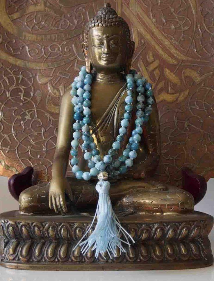 Sally McBride Design HEMIMORPHITE Mala comprised of 108 beads 6mm diameter round with a silver guru bead and tassel.