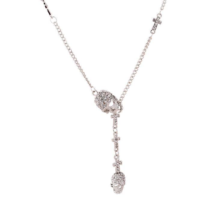 Women's Black Gold Silver Skull Necklace //Price: $19.99 & FREE Shipping //     #skull #skullinspiration #skullobsession #skulls