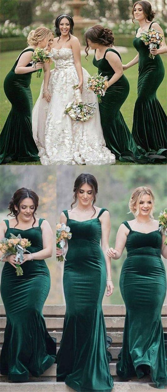 959b80ce9d3 2019 的 Mermaid Straps Sweep Train Dark Green Velvet Bridesmaid ...