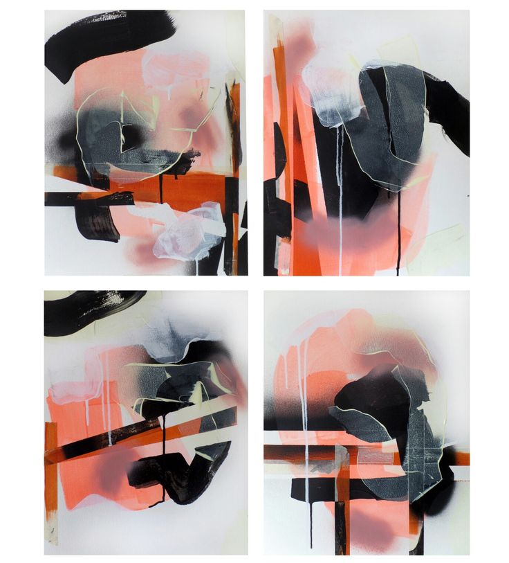 Four works in acrylic on paper, 2016 by Stroke a Bird