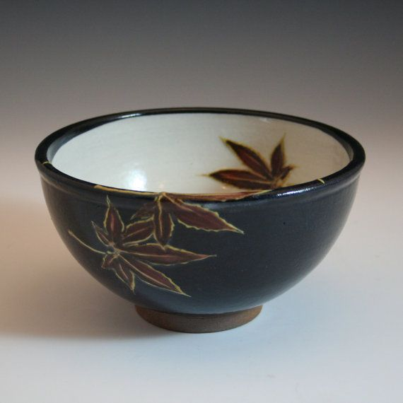 handmade stoneware serving or udon bowl with maple leaves in