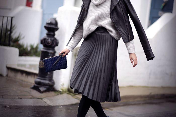 Zara skirt (similar here) // Zara knit (similar here) // Pauw jacket (similar here) // New Balance trainers // Zara clutch // Tom Wood rings.