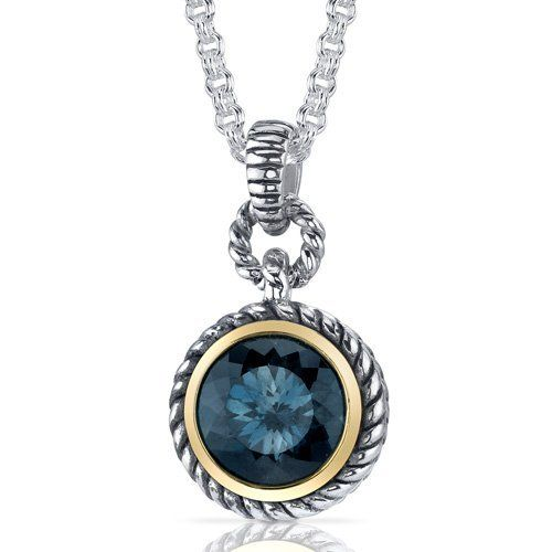 Portuguese Cut 4.50 carat London Blue Topaz Sterling Silver Rhodium Finish Twisted Cable Pendant Peora. $79.99. Save 67% Off!