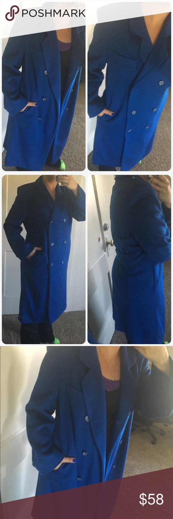 Gorgeous royal blue Ashley Scott petite Like new 100% wool I feel fits closer to a XL Vintage Jackets & Coats Pea Coats