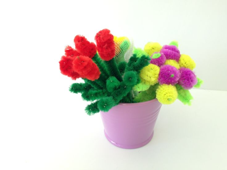 Mini pipe cleaner bouquet with roses, DIY tutorial #20, kids crafts (モール...