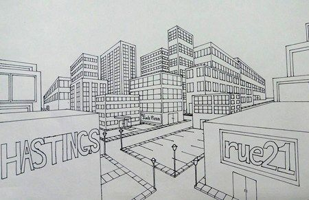 how to draw a room in two point perspective
