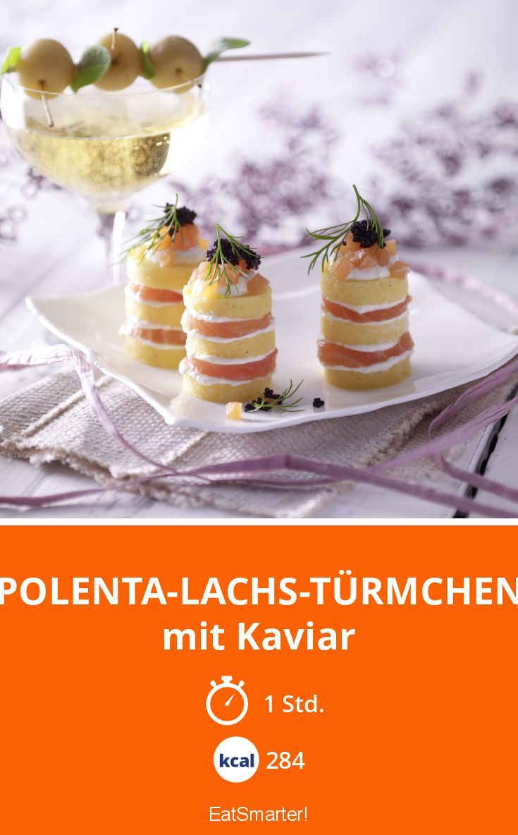 Polenta-Lachs-Türmchen - mit Kaviar - smarter - Kalorien: 284 Kcal - Zeit: 1 Std. | eatsmarter.de