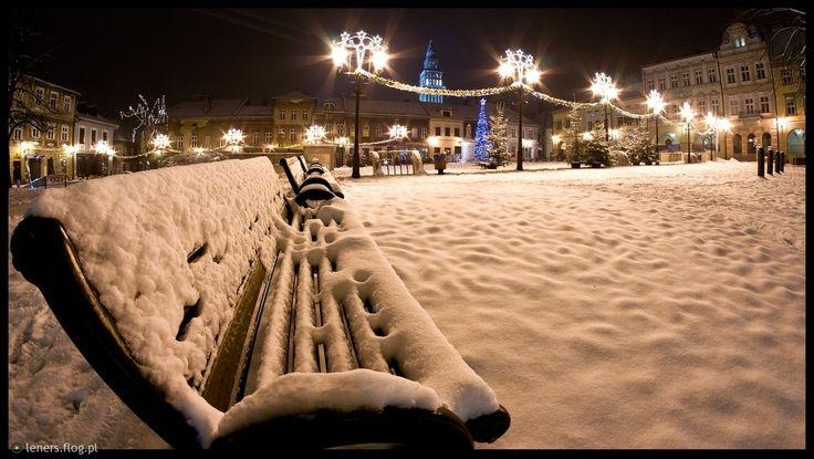 Bielsko przysypane śniegiem - Stary Rynek  Bielsko Biała - Poland